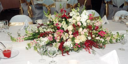 The same bouquet was moved to the reception site