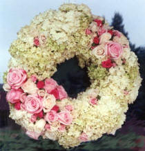 Pair of Wreaths with roses and hydrangea